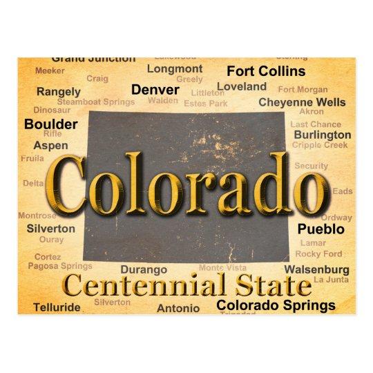 Aged Colorado State Pride Map Silhouette Postcard Zazzlecom