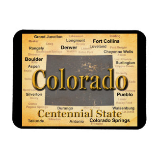 Aged Colorado State Pride Map Silhouette Magnet