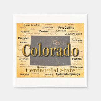 Aged Colorado State Pride Map Silhouette Paper Napkins