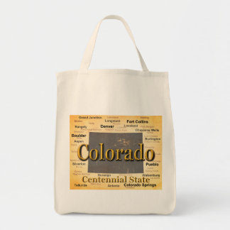 Aged Colorado State Pride Map Silhouette Tote Bag