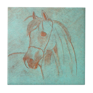 Aged Copper Engraved Horse Ceramic Tile
