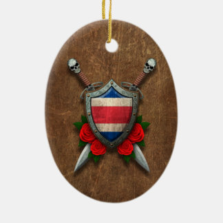 Aged Costa Rica Flag Shield and Swords with Roses Christmas Tree Ornaments
