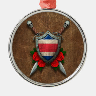 Aged Costa Rica Flag Shield and Swords with Roses Christmas Ornaments