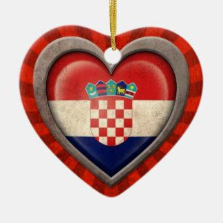 Aged Croatian Flag Heart with Light Rays Christmas Tree Ornament