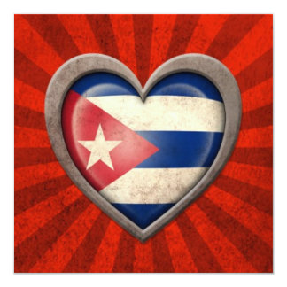 Aged Cuban Flag Heart with Light Rays Invite
