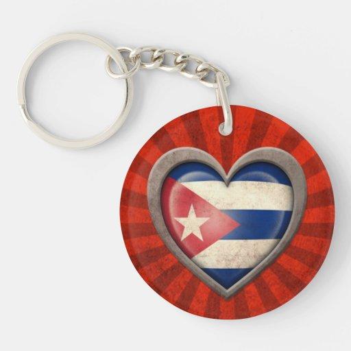 Aged Cuban Flag Heart with Light Rays Double-Sided Round Acrylic Keychain