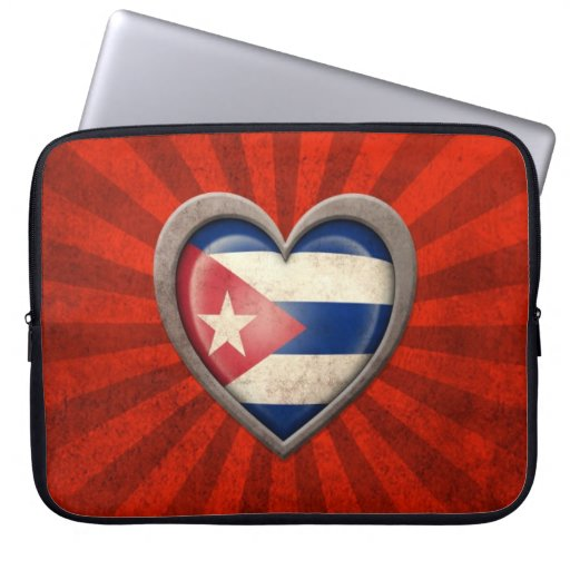 Aged Cuban Flag Heart with Light Rays Computer Sleeves