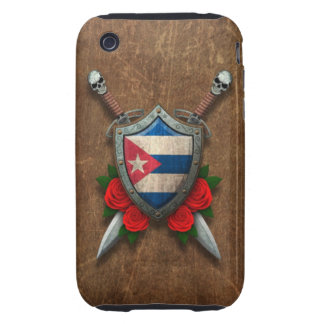 Aged Cuban Flag Shield and Swords with Roses Tough iPhone 3 Cases