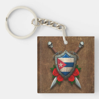 Aged Cuban Flag Shield and Swords with Roses Square Acrylic Keychain