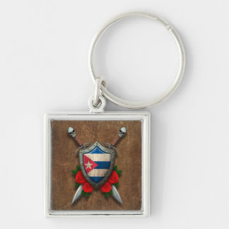 Aged Cuban Flag Shield and Swords with Roses Key Chain