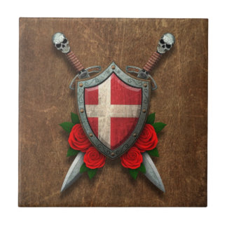 Aged Danish Flag Shield and Swords with Roses Ceramic Tile