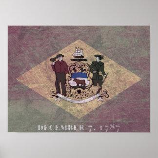 Aged Delaware flag Print