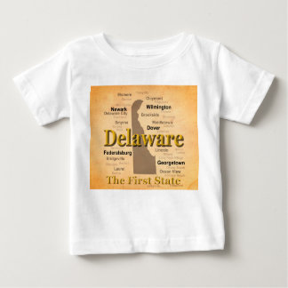 Aged Delaware State Pride Map Baby T-Shirt