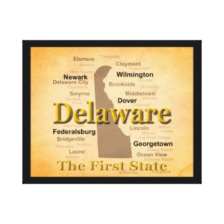 Aged Delaware State Pride Map Stretched Canvas Prints