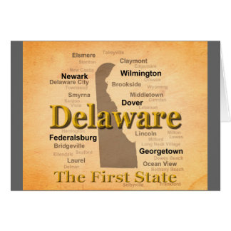 Aged Delaware State Pride Map Greeting Card