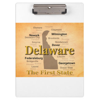Aged Delaware State Pride Map Clipboards