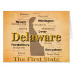 Aged Delaware State Pride Map Greeting Cards