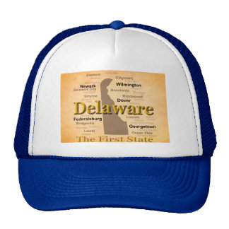 Aged Delaware State Pride Map Hats