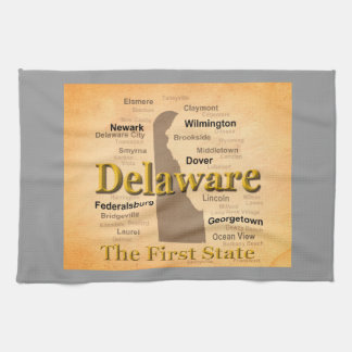 Aged Delaware State Pride Map Kitchen Towel