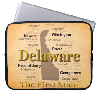 Aged Delaware State Pride Map Laptop Computer Sleeves
