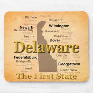 Aged Delaware State Pride Map Mouse Pad