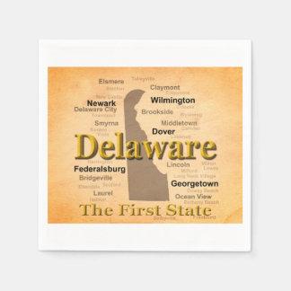 Aged Delaware State Pride Map Paper Napkin