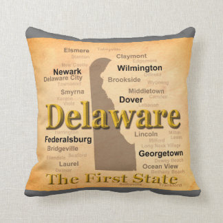 Aged Delaware State Pride Map Throw Pillows