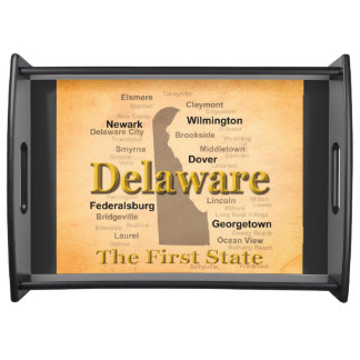 Aged Delaware State Pride Map Service Tray