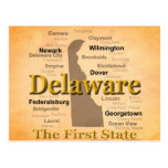 Aged Delaware State Pride Map Postcard
