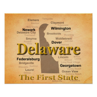 Aged Delaware State Pride Map Posters