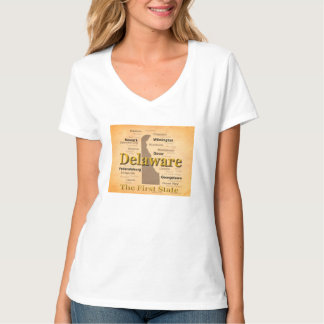 Aged Delaware State Pride Map T-Shirt