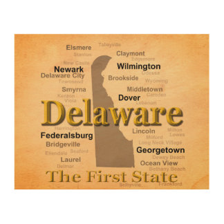 Aged Delaware State Pride Map Wood Prints