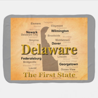 Aged Delaware State Pride Map Swaddle Blanket