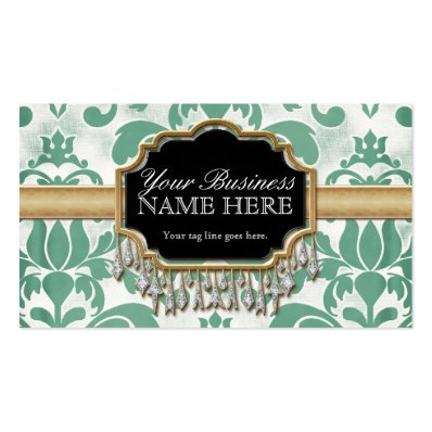Aged Distressed Damask Golden Bling Look Wedding Business Card