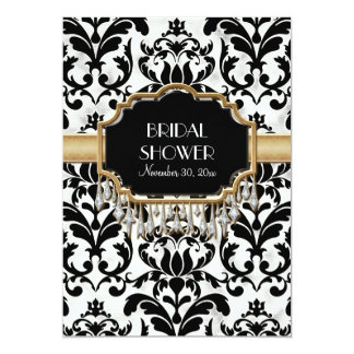 Aged Distressed Damask Golden Bling Look Wedding Card