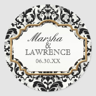 Aged Distressed Damask Golden Bling Look Wedding Classic Round Sticker
