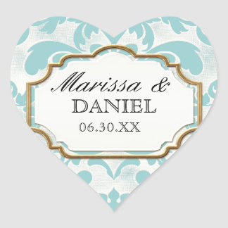 Aged Distressed Damask Golden Bling Look Wedding Heart Sticker