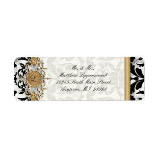 Aged Distressed Damask Golden Bling Look Wedding Custom Return Address Label