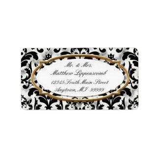 Aged Distressed Damask Golden Bling Look Wedding Label