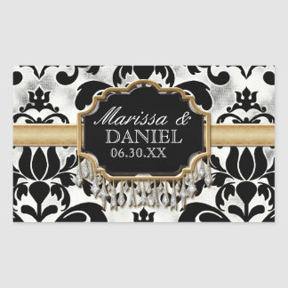 Aged Distressed Damask Golden Bling Look Wedding Rectangular Sticker