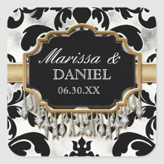 Aged Distressed Damask Golden Bling Look Wedding Square Sticker