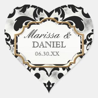 Aged Distressed Damask Golden Bling Look Wedding Heart Sticker