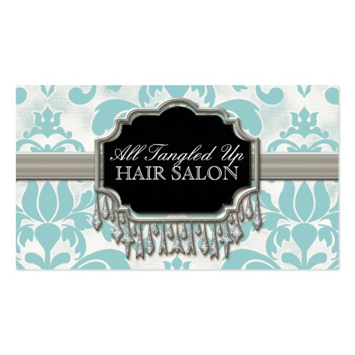 Aged Distressed Damask Silver Bling Look Wedding Business Card Template