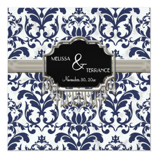 Aged Distressed Damask Silver Bling Look Wedding Card