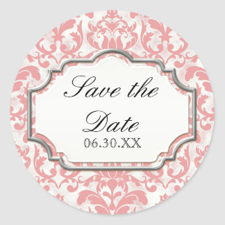 Aged Distressed Damask Silver Bling Look Wedding Classic Round Sticker