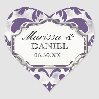 Aged Distressed Damask Silver Bling Look Wedding Heart Sticker