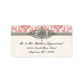 Aged Distressed Damask Silver Bling Look Wedding Labels