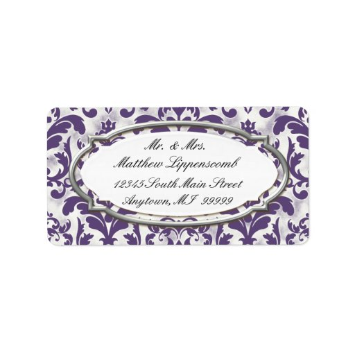 Aged Distressed Damask Silver Bling Look Wedding Address Label