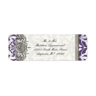 Aged Distressed Damask Silver Bling Look Wedding Label