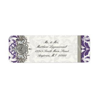 Aged Distressed Damask Silver Bling Look Wedding Return Address Labels